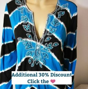 INC, Tie dyed Tunic, beaded & Sequined, Lg